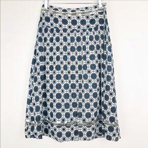 Tory Burch Maxi blue print silver sequin skirt 2